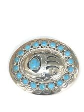 Native American Sterling Silver Handmade Navajo Turquoise Belt Buckle .