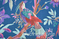 Cotton Blue Bird Indian Hand Block Print Sewing Material Craft By The Yard