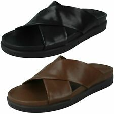 Mens Clarks 'Sunder Cross' Black Or British Tan Leather Casual Mule Sandals