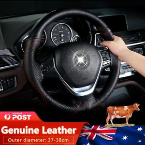 Premium Genuine Leather DIY Car Steering Wheel Cover Auto Protection Needle 38cm