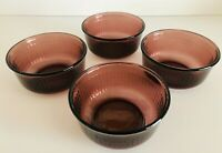 "Vintage Set Of 4 Forte Crisa Mexico Purple Amethyst Glass Bowls 5"" Diameter"