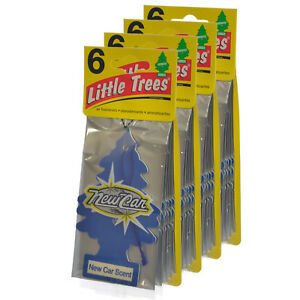 Little Trees Hanging Car and Home Air Freshener, New Car Scent - Pack of 24
