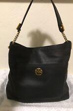 Tory Burch Chelsea Chain black leather logo pocket hobo handbag Excellent Condit