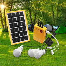 Outdoor Portable Solar Panel Electric Generator 3 Led Bulb Power System Kit New