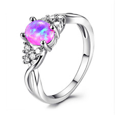 Fashion woman 925 Silver Pink Fire Opal CZ Crystal Wedding Ring Size 6 7 8 9 10