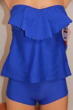 NWT Hula Honey Swimsuit Bikini Tankini 2pc set Sz L XL Blue Shorts