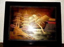 ANCIEN TABLEAU CHINE BOIS PEINT POLYCHROME LAQUE NOIR Largeur/35 cm x 27 cm