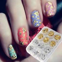 12Pcs Women Pots Nail Art Gold Silver Flake Foil Paillette UV Gel Paper 3D Tips