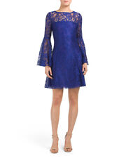 JAY GODFREY Blue Cobalt 'Mainden' Lace Bell Sleeve Dress Size 4 NWT $324