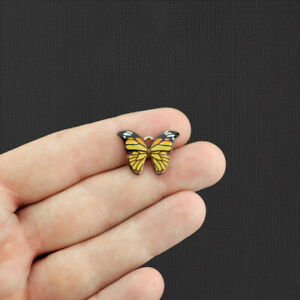 5 Yellow Butterfly Gold Tone Enamel Charms - E1078