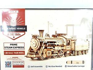 ROKR Prime Steam Express 1:80 Scale Model Train Locomotive 3D Wooden Puzzle New