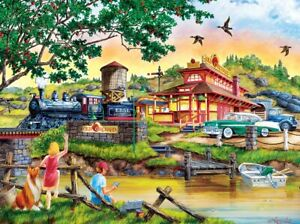 Jigsaw Puzzle Americana Apple Express Antique Locomotive Train 550 pieces NEW