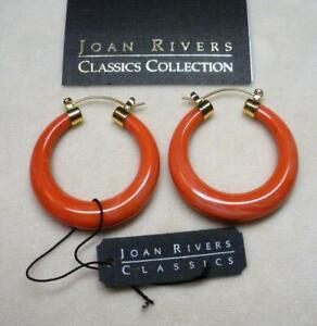 NEW JOAN RIVERS GOLD EP LUCITE LOOK OF JADE CORAL SWIRL HOOP PIERCED EARRING