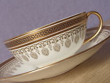Antique 1910's Cauldon fine bone china gold and white greek key tea cup teacup
