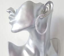 Splendido grande 6cm Bianco e Diamante-cristallo mezza Orecchini a cerchio