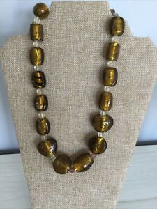 Estate chunky Murano style glass heart zebra gold yellow sparkle bead necklace