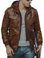 Homme Slim Biker marron moto à capuche peau d'agneau Veste en cuir