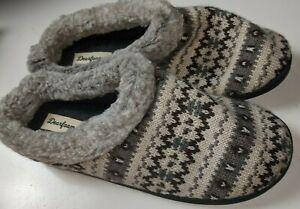 Dearfoams Bockle Knit Memory Foam Slippers Size L 9/10 40/41 Gray Multi Nonskid