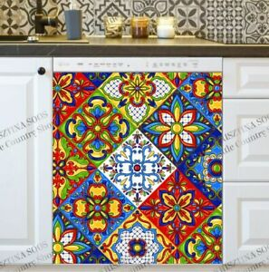 Kitchen Dishwasher Magnet Cover - Mexican Talavera Tile Design