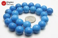 """14mm Blue Round Turquoise Loose Beads for Jewelry Making Necklace DIY 15"""" los29"""