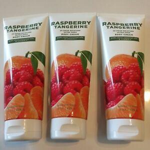 3 Bath & Body Works RASPBERRY TANGERINE 24Hr Moisture Ultra Shea Body Cream