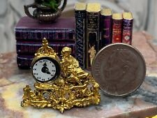 Dollhouse Miniature Mantel Clock white with gold leaf