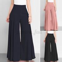 Women Zip Up High Waist Palazzo Trousers Culottes Flare Wide Leg Pants Plus Size