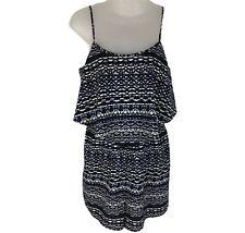 UNBRANDED Womens Shorts Romper Blue Jumpsuit Straps  Elastic Waist Size L