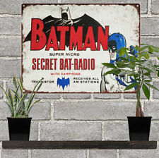 "Batman Radio Metal Sign Ad Repro Oil Garage Shop Mancave 9x12"" 60244"