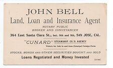 1890s Trade Card John Bell Land Loan Insurance San Jose CA Cunard Line