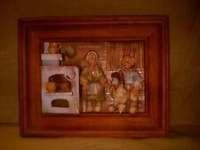 Wood Shadowbox Style Picture w/ 3-D Clay Hand Made German Man & Woman Room Scene