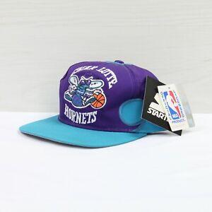 Vintage DS Charlotte Hornets Starter Snapback Hat Cap OSFA Purple Teal 90s NBA