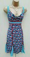 Karen Millen 10 UK Blue Floral Print Silk Fit Flare Dress Summer Holiday Cruise