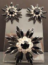 VTG Signed Judy Lee Black Clear Rhinestone Flower Pin Brooch clip earrings set