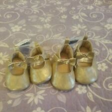 Baby Bgosh  Gold Crib Girls Shoes 2 available sz nb, and 0-3 mos NWT