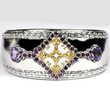 """Sterling Silver 5.70 ct Garnet Amethyst Gemstone Womens Cuff Bangle Bracelet 7"""""""