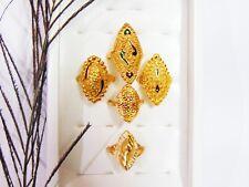 5Pcs Ring Set Indian Designer 18k Gold Plated Finger Rings Women Wedding Jewelry