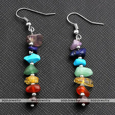 Ear Drop Dangle Hook Earrings Jewelry 7 Natural Chakra Irregular Gemstone Beads
