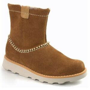 Clarks Junior Girls Crown Piper Tan Suede Warm Air Spring Boots Size UK 5/38 F