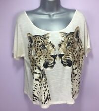 Charlotte Russe M161 Woman's Graphic Short Sleeve T-Shirt Tigers Size S Beige