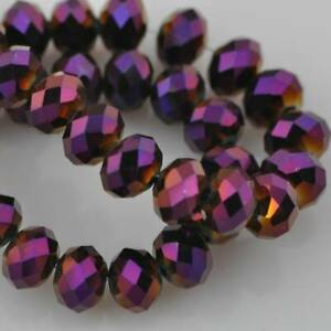 3mm 4mm 6mm 8mm 10mm 12mm Rondelle Faceted Crystal Glass Loose Spacer Beads lot
