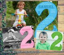 10 personalizzata festa di compleanno Inviti due 2nd seconda foto COMPLETO invitare Kids