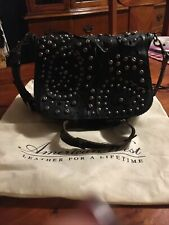 Patricia Nash Leather $249 Rosa Studded Link Black Saddle Bag Euc!