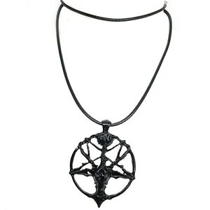 Baphomet Devil Pendant Satan Goat Head Occult Pentagram Necklace Black Rope Emo