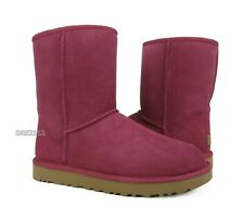 UGG Classic Short II Garnet Red Suede Fur Boots Womens Size 10 ~NIB~
