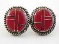 Navajo Sterling Silver Red Jasper Stud Earrings Native American Ernest Wood 925