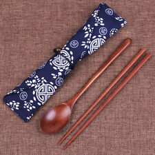 1 Set Wooden Spoon Chopsticks Tableware with Cloth Bag Travel Portable Cutlery