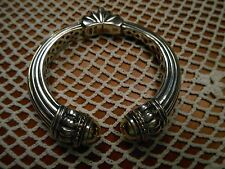 "Lagos Caviar 18K Gold &Sterling Silver Torque Kick Cuff 7""Hinge Bangle Bracelet"