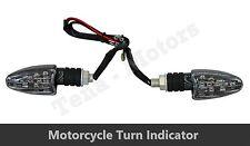 2 x Nero Moto Motocicletta Indicatore Direzione Luce Ambra LED Fari D20
