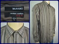 Murano Modern Comfort XLA Brown Striped L/S Btn Front Dress Shirt Mens Large